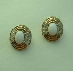 Donald Stannard Geometic Art Deco Style Clip On Earrings Rhinestones White Cabs
