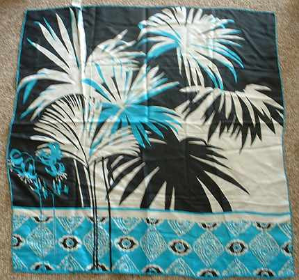 Pure Silk Vintage Scarf Hand Printed Signed Turquoise Retro Trees