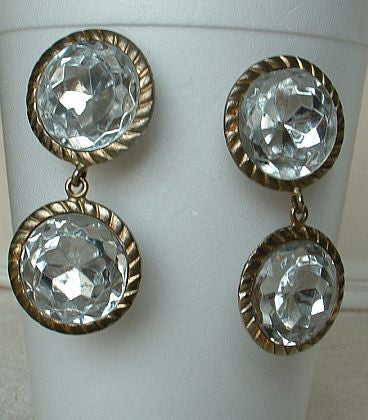 ENORMOUS Double 1 inch Rhinestone Clip Dangle Earrings Vintage