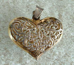 SU Signed Sterling Silver Vermeil Openwork Filigree Heart Pendant Sweetheart Jewelry