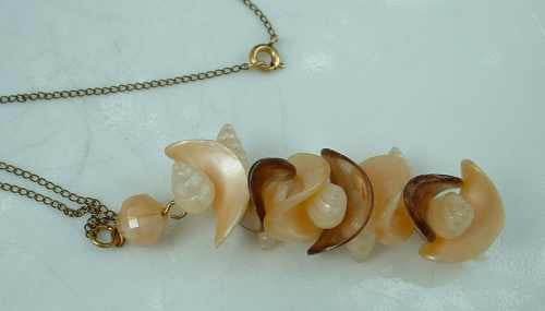 Lucite and Shell Pendant Necklace 12K GF Chain Vintage Jewelry
