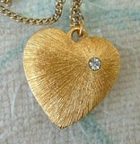 Solid Brushed Goldtone Heart Pendant Necklace Rhinestone Sweetheart Jewelry