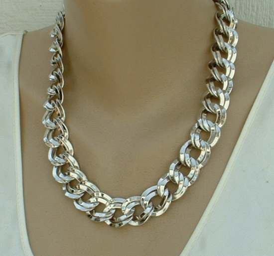 Monet Double Large Curb Link Necklace Silvertone Designer Jewelry