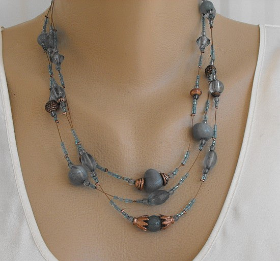 Copper Glass Triple Strand Necklace Aqua Blue Teal Jewelry