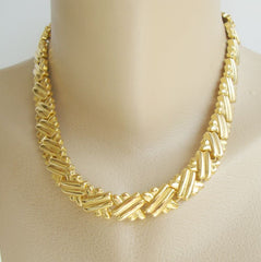 "Goldtone Ribbed Basket Weave Link Necklace 18"" Classic Jewelry"