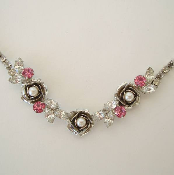 Pink Rhinestones Pearl Necklace Navettes Roses Sparkling Floral Jewelry
