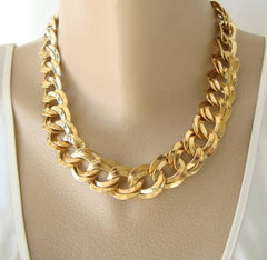 Double Large Curb Link Necklace Goldtone Metal Vintage Jewelry