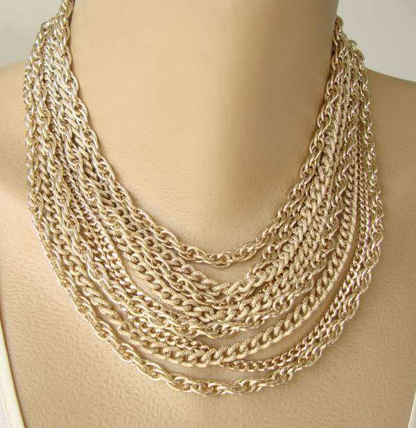 9-Strand Goldtone Eloxal Aluminum Chain Necklace Lightweight Vintage Jewelry