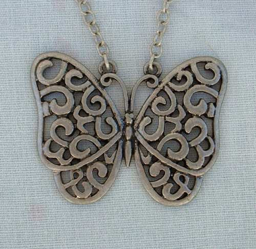 Openwork Butterfly Pendant Necklace Pewter Figural Jewelry