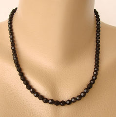 "Black Faceted Crystal Bead Necklace 18"" Vintage Jewelry"