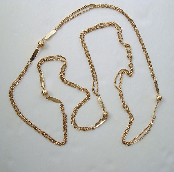 Long Flapper Length Double Chain Necklace Ribbed Beads Vintage Jewelry
