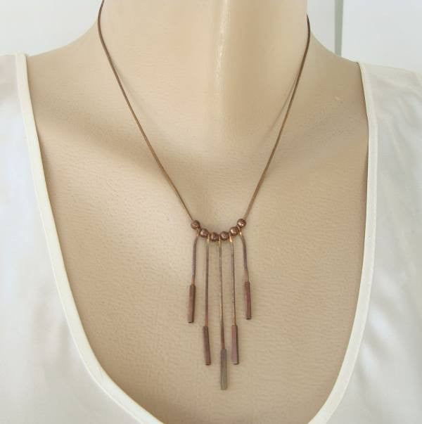 Copper Chain Necklace Retro Dangles Fringe Vintage Jewelry