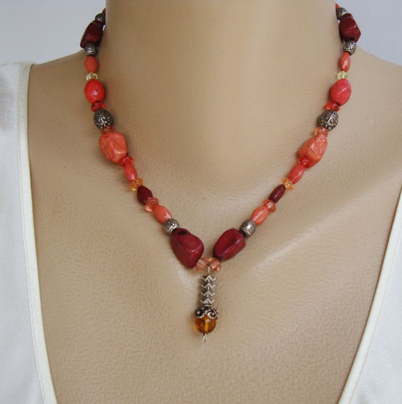 Faux Carnelian Bead Necklace Amber Drop