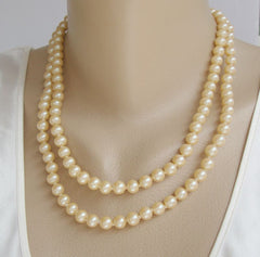 JAPAN 2-Strand Glass Pearl Necklace Hand Knotted Fancy Clasp Vintage Jewelry
