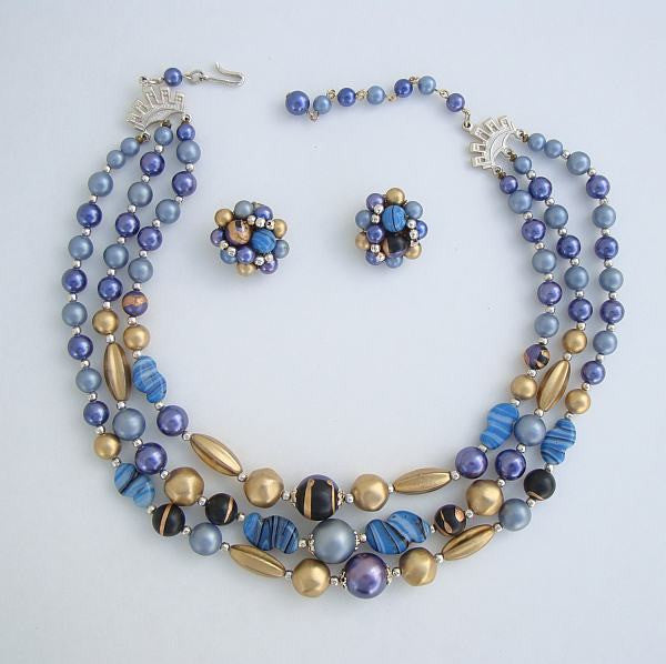 Japan 3-Strand Necklace Clip On Earrings Set Blue Purple Gold Art Beads Vintage Jewelry