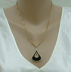 Reversible Black Beige Enamel Teardrop Shaped Necklace Clip Ears Chevron Set