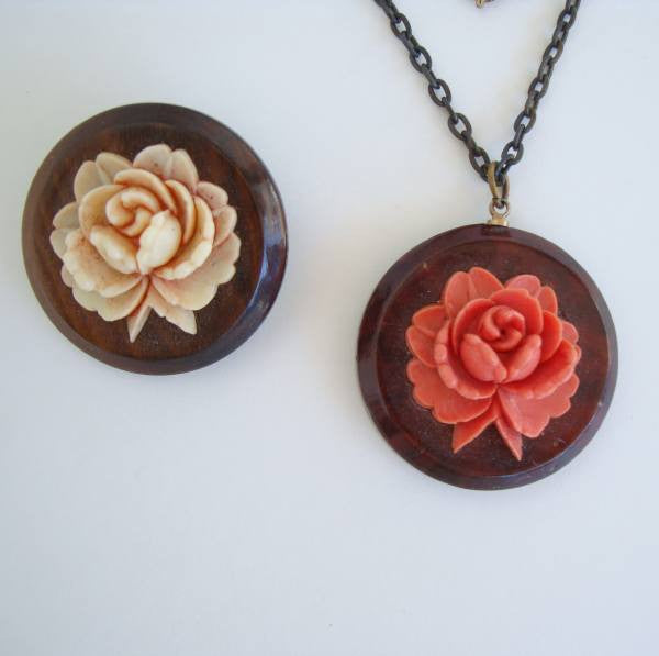 Celluloid Roses on Wood Necklace Brooch Set Peach Pink Floral Vintage Jewelry