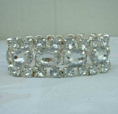 Light Blue Faux Rhinestones Expansion Bracelet Lightweight Bling Vintage Jewelry