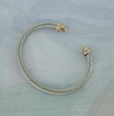 Solid Braided Cuff Bracelet Art Deco Style Silvertone Goldtone Vintage Jewelry