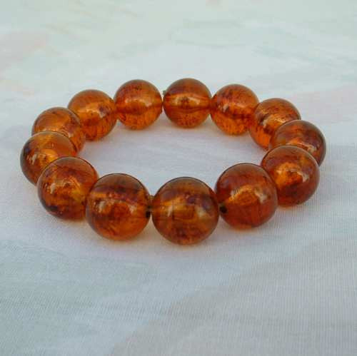 Chunky Faux Amber Bead Bracelet Molded Expansion Jewelry