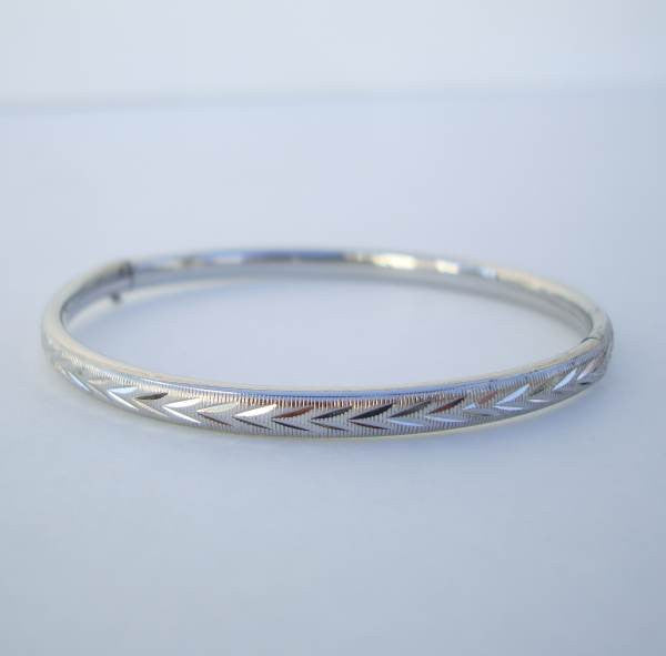 Marathon Sterling Sliver Slider Bangle Bracelet Etched Arrow  Vintage Jewelry