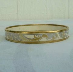 Laurana Enameled Bangle Bracelet Italy Signed Vintage Jewelry