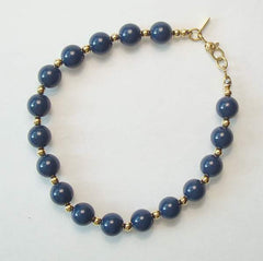 Monet Navy Blue Bead Bracelet Vintage Jewelry