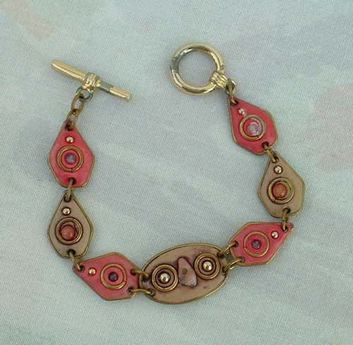 Pink Brown Polymer Clay Link Bracelet Ethnic Jewelry