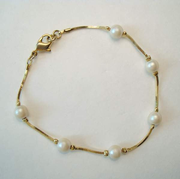 Delicate Pearl Chain Bracelet Prom Wedding Vintage Jewelry