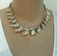Linked Leaf Necklace Detailed Embossing Vintage Floral Jewelry