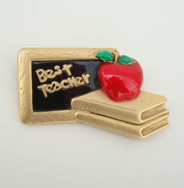 AJC Best Teacher Pin Enameled Apple Books Chalk Board Figural Jewelry