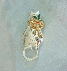 Christmas Cat Brooch Bow with Holly Sprig Holiday Jewelry