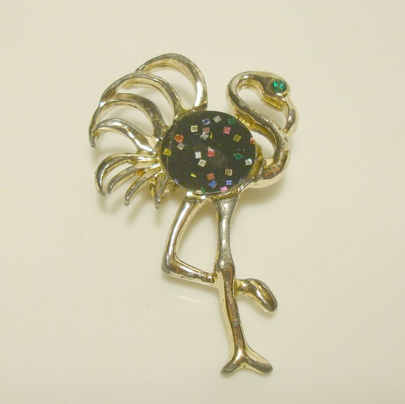 Vintage Flamingo or Ostrich Pin Colorful Green Red Glitter Figural Jewelry