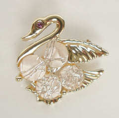 Fab Swan Pin 'Rutilated' MOP Goldtone Avian Figural Jewelry