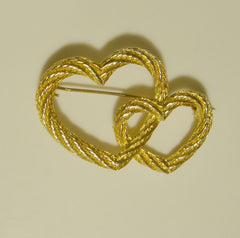 Christian Dior Entwined Hearts Two-Tone Brooch Sweetheart Designer Jewelry
