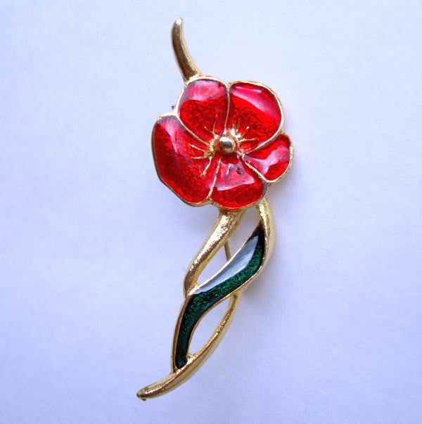 Red Green Enamel Pansy Pin Floral Jewelry