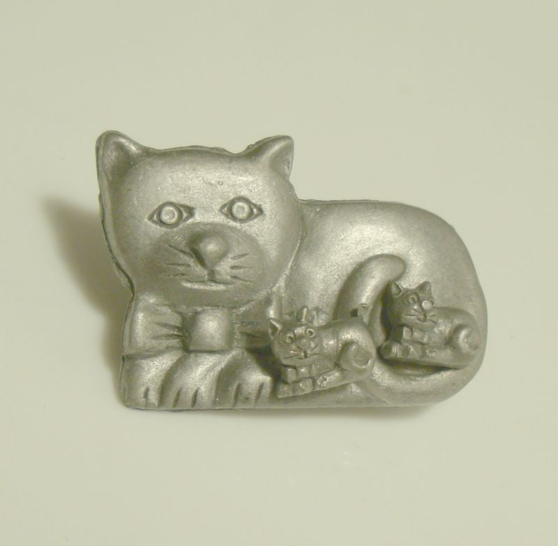 Cute Pewter Cat Pin with Inset Removable Kitten Earrings Set Figural Jewelry