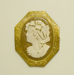 Antique Cameo Brooch Repousse Brass Painted Unusual Vintage Jewelry