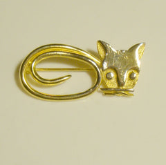 Jeanne Signed Figural Cat Pin Openwork Vintage Jewelry