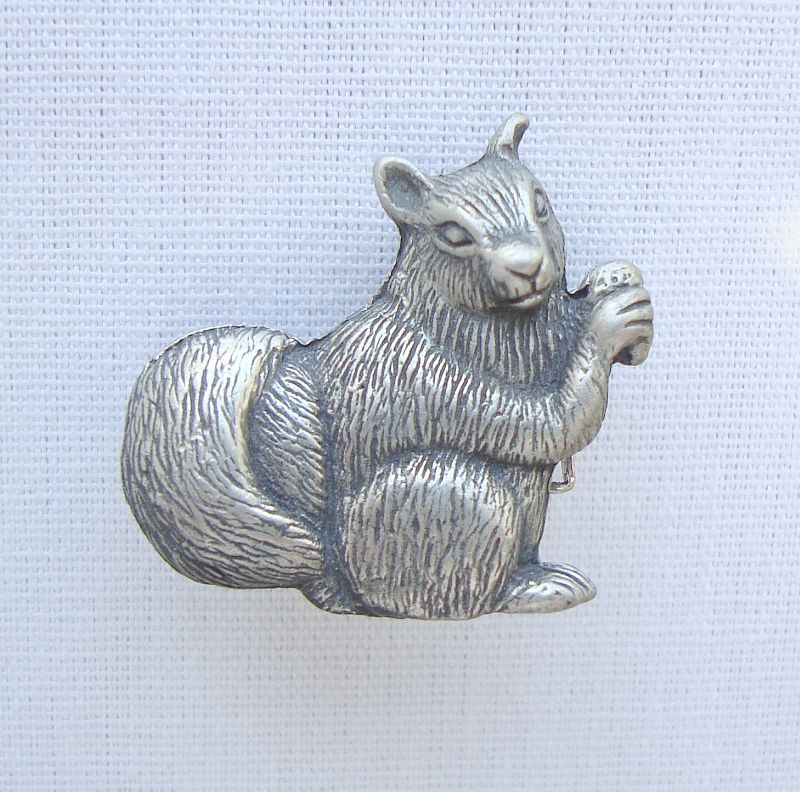 Crystal Legends Pewter Squirrel Brooch Lapel Pin Figural Jewelry