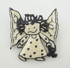 SFJ Black White Enamel Angel Pin Figural Jewelry