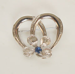 Sterling Silver Double Horseshoes Flower Pin Blue Rhinestone Floral Jewelry