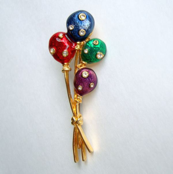 Colorful Balloon Brooch Rhinestones Red Purple Green Blue Figural Jewelry