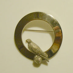 Circle Pin with Perched Eagle Silvertone Figural Bird Jewelry