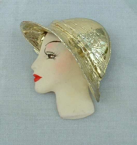 Retro Lady Face Pin Gold Foiled Metal Hat Hand Painted Vintage Jewelry