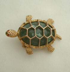 GERRY'S Turtle Pin Marbled Green Body Red Eyes Openwork Shell Vintage Jewelry