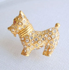 Scottie Dog Lapel Pin Tie Tac Rhinestones Cute Animal Figural Jewelry
