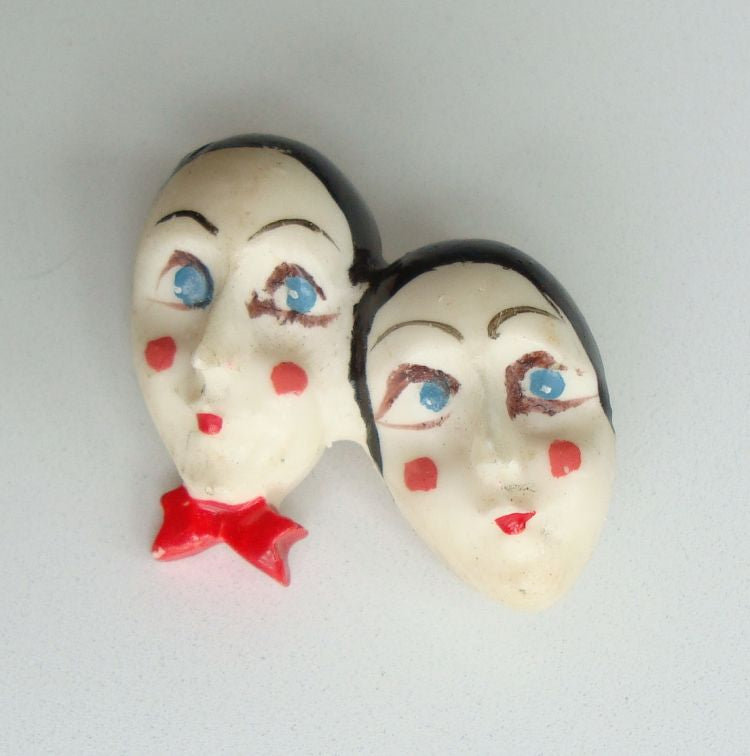 Two Mimes Old Figural Pin Red Black Vintage Figural Jewelry