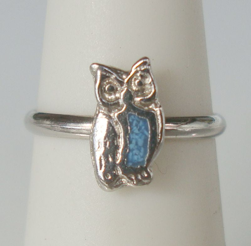 Childs Owl Ring Size 4.75 Turquoise Stripe Animal Jewelry