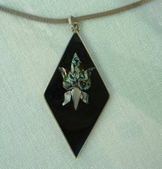 Mexican Cala Lily Pendant Necklace Inlaid Abalone Orchid Vintage Jewelry
